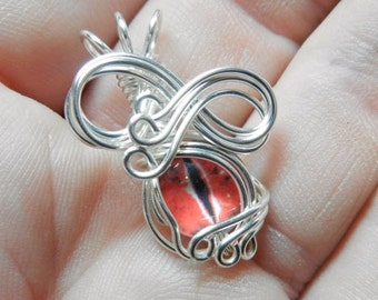 Wire Wrap Glass Eye Pendant - Mini Red Dragon Eyeball - with Necklace