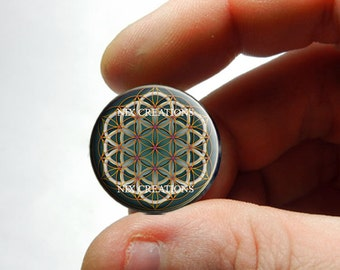25mm 20mm 16mm 12mm 10mm or 8mm Glass Cabochon - Green and Tan Flower of Life - for Jewelry and Pendant Making