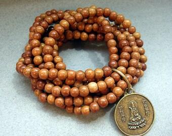 Buddha Bracelet - Buddha Charm Bracelet - Stretch Wood Beaded Bracelet - Wooden Bead Bracelet - Brown Bracelet - Protection Jewerly