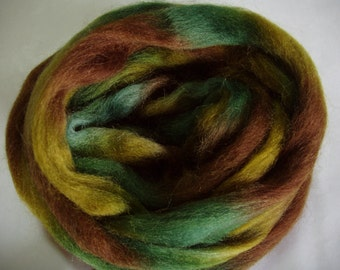 3.5oz, wool roving, finger thick strand, spinning fiber, felting wool, dread wool, wet felting wool, spinning wool, rainbow wool,green,brown