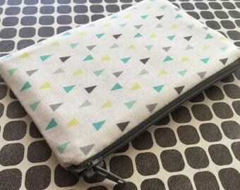 Triangles print pouch , Mint and Grey zipper pouch  - Clutch, Makeup Bag, Zipper Pouch