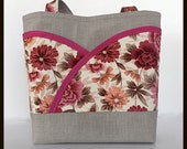 Pink and cream tote handbags and purses floral handmade handbag womens purse blue womens handbag