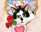 Valentine Fairy Cat Painting Cat Art Roses Heart Tuxedo Cat Original 12x16 Fantasy Art For Cat Lovers