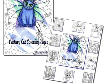 Fairy Cat Coloring Page Gift Set Adult Coloring Book 10 Pages Fantasy Cats Art Cat Lovers Gift