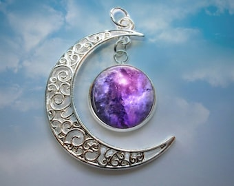 Purple Galaxy - Crescent Moon Pendant with Image Charm - Pendant Necklace - Optional Chain in 3 Lenghts