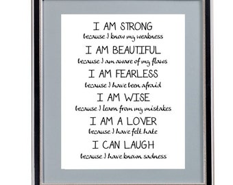 I am Strong, I am Beautiful, Etc. Plain white Background - Digital Art - Instant Download