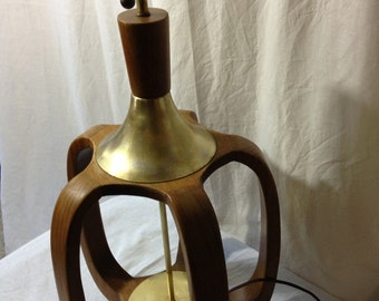 Large Mid Century Teak Wood Table Lamp