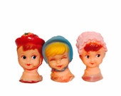 3pcs TINY DOLL HEADS Vintage Kitschy Rubber