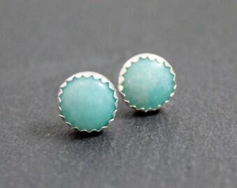 Amazonite Gemstone Post Earrings, Gemstone Stud Earrings, Blue earrings, Stone Earrings