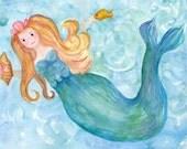 Mermaid watercolor painting original, 8 x 10 mermaid painting, mer floating in ocean, mermaid art, shells, watercolor art of mermaid