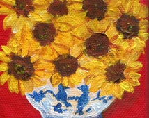 Sunflowers  acrylic painting canvas art, mini painting, Easel, blue and white vase, Small sunflower decor, original, sunflower decor