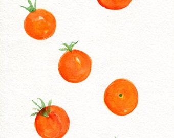 Tomatoes Watercolor Painting, Sun Gold watercolor, Original 5 x 7 inches, Sungold Cherry, kitchen art, food illustration, SharonFosterArt