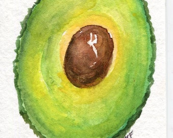 ACEO Avocado watercolors paintings original, small kitchen art, original watercolor painting of avocado, SharonFosterArt, SharonFosterArt