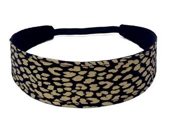 Adult Headband Woman, Womens Headband, Reversible Fabric Headband For Women  -  Black, gold, leopard, animal  -  GLITZ & GLAM LEOPARD