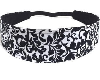 Headband for Women, Adult Headband, Womens Headband, Reversible Fabric Headband - Black & White Floral - BLACK WHITE FLORAL