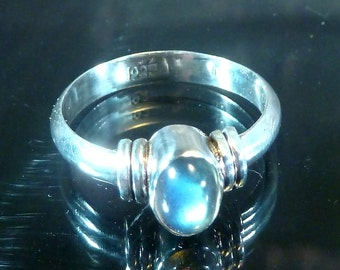 Labradorite Deco Ring Sterling Silver size 7 band rainbow cab neon blue gold purple cabochon