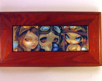 CLEARANCE Steampunk Faces of Faery set of 3 Framed Mini Ceramic Tiles from Jasmine Becket-Griffith Art