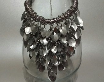 Silver Shaggy Elements Scale Necklace