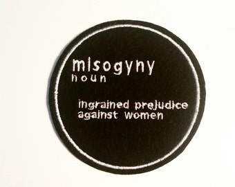 Misogyny iron on felt patch dictionary embroidered applique - feminist patch - patches for jackets - black and white - women - embroidery