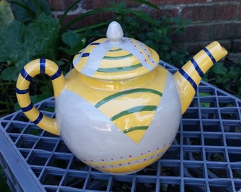 1 Hand Painted Gray Earthenware Ceramic Teapot OOAK
