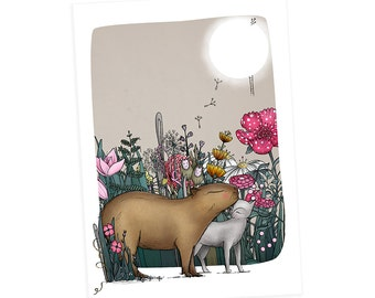 Capybara cat greetings cards - cat -  animals greetings card birthday christmas card - no wording blank