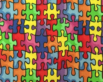 Autism Awareness Puzzle Pieces - Weighted Scarf with Pockets, Neck Wrap, Lap Pad - Choose weight and minky color - special needs - flannel