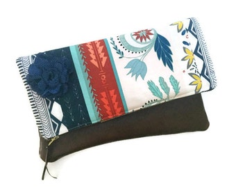 Woven Willow Path Leather Foldover Clutch Bag, Brown Leather Navy Pouch, Blue Evening Bag, Leather Clutch Pouch, Zippered Clutch Purse,