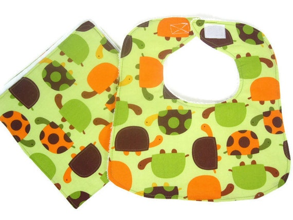 Turtles in Green and Brown Baby Boy Bib Burp Cloth Set, Baby Bib and Burp Cloth Set, Baby Boy Accessories