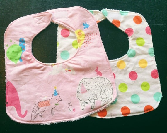 Baby Bib Set, Baby Girl Bibs, Baby Shower Gift, Drool Bibs, Infant Bibs, Set of 2 Baby Bibs, Pink Hip Hooray Party Bibs