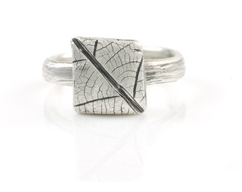 Square Leaf Imprint Ring in Palladium Sterling Silver - Made to Order