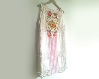 Rose Linen Dress, White, Applique, Embroidery, Pinstripe, Upcycled, Rustic Dress, Boho, Pretty Dress