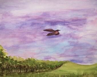 """Watercolor Painting 9x11"""" Bird in Flight, Original Art"""
