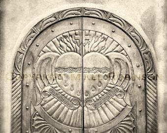 Sacred Heart. Black and White. Original Digital Photograph Giclee Art Print. Wall Art. Wall Decor. SACRED HEART DOOR by Mikel Robinson
