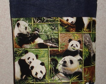 New Small Handmade Panda Bear Squares Wildlife Denim Tote Bag Purse