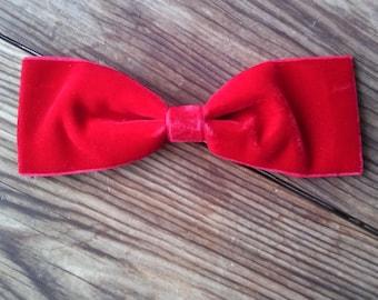 Vintage 1960s Hair Bow Big Red Velvet Dolly Hair Barrette 2016195