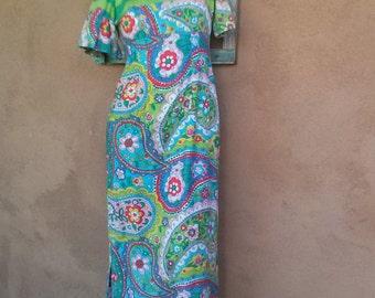 Vintage 1960s Paisley Dress Empire Waist Indian Style Hippie US 8 B35 W28 2014273