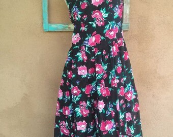 Vintage 1980s Dress Lanz Sundress 1950s Style Hawaiian US10 B36 W32 2013295