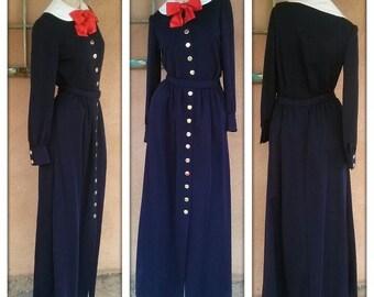 Vintage 1970s Norell Suit Navy Blue Maxi 2 Piece US 8 B36 W 27