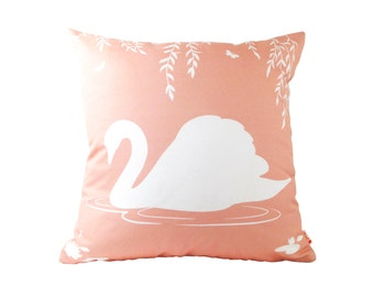 White on Pastel Light Coral Pink Swan in the Swamp 18 inches Square Linen Pillow