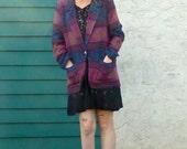 Cozy Soft PLUM TURQUOISE Blanket Fabric Jacket sz M / L
