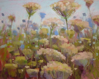 Queen Annes Lace Intimate Wildflowers LARGE Original Pastel Painting Karen Margulis