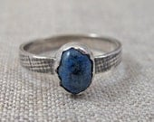 Sterling Silver and Denim Lapis Ring with fabric printed textured band