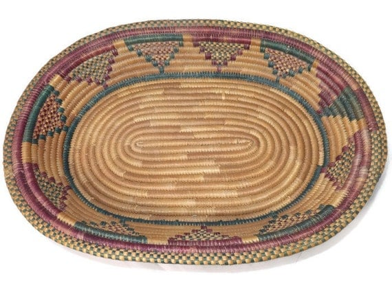 Vintage Native American Basket - Intricate Hand Woven Oval Tray, Highly Detailed Design in Maroon and Green
