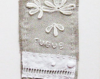 Textile art, mini art quilt, stitching, embroidery, White, Fugue