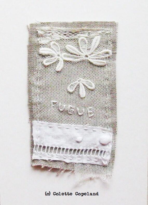 Textile art, mini art quilt, stitching, embroidery, White, Fugue