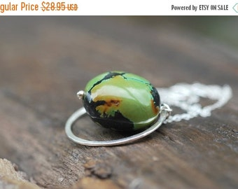 ON SALE Green Turquoise Nugget Necklace Sterling Silver Jewelry Smooth Turquoise Nugget Jewelry Olive Green Jewelry Gift for Her