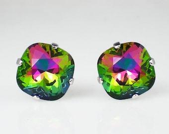 Electra Rhinestone Stud Earrings Swarovski Fuchsia Green Blue Wedding Jewelry Flower Girl Earrings Bridesmaid Earrings