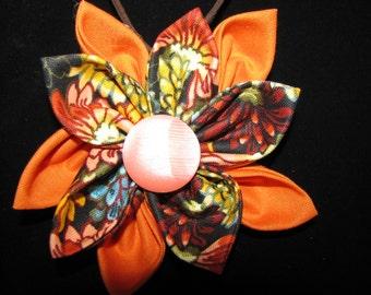 Orange Multi-Color Mum Print Fabric Flower Statement Necklace