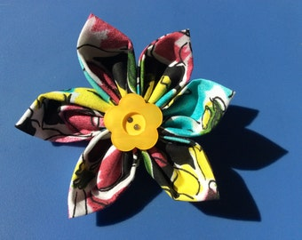 Multi Color Abstract Floral Fabric Flower Brooch Pin