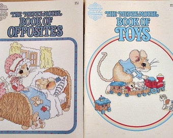 2 Cross Stitch The Merry-Mouse Pattern Booklets - Book of Toys - Book of Opposites - Gloria & Pat